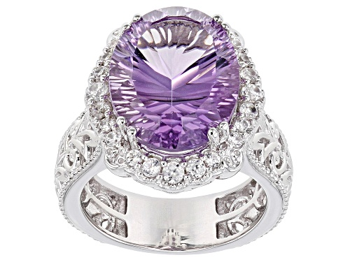 Photo of 7.22ct Oval Quantum Cut® Rose de France Amethyst With .63ctw Zircon Rhodium Over Silver Ring - Size 9
