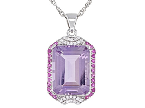 Photo of 8.79ct Rose de France Amethyst, .46ctw Sapphire & Zircon Rhodium Over Silver Pendant W/Chain