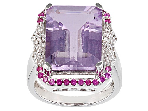 8.71ct Emerald Cut Lavender Amethyst, .47ctw Pink Sapphire & White Zircon Rhodium Over Silver Ring - Size 7