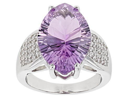 6.76ct Marquise Rose de France Amethyst and .37ctw Round White Zircon Rhodium Over Silver Ring - Size 8