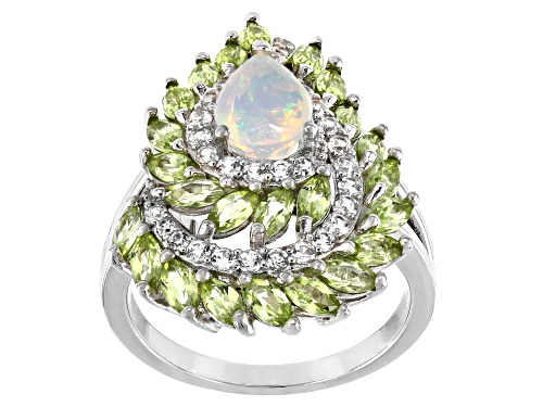 Photo of .53ct Ethiopian Opal with 1.42ctw Manchurian Peridot™ & .59ctw White Zircon Rhodium Over Silver Ring - Size 8