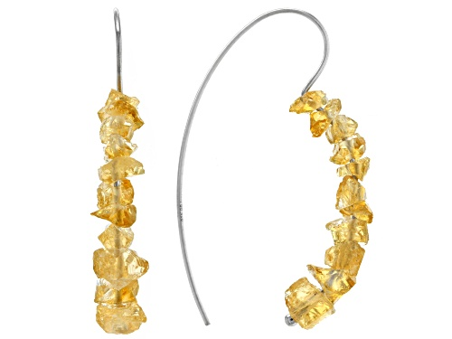 Photo of Round citrine rough rhodium over sterling silver earrings