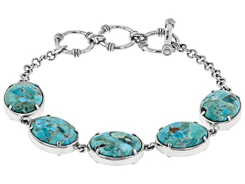 Photo of 16x12mm oval cabochon Turquoise and 16x12mm Abalone Shell Rhodium Over Silver Reversible Bracelet - Size 7.25