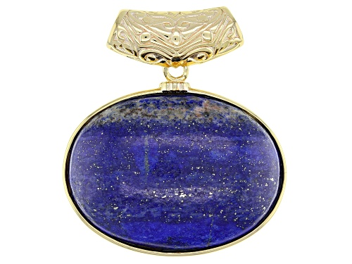 Photo of 30x22mm Oval Lapis Lazuli 18k Yellow Gold Over Sterling Silver Slide