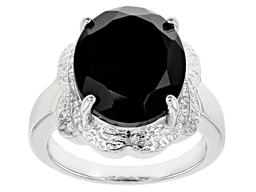 Photo of 9.35ct Oval Black Spinel Rhodium Over Sterling Silver Solitaire Ring - Size 9