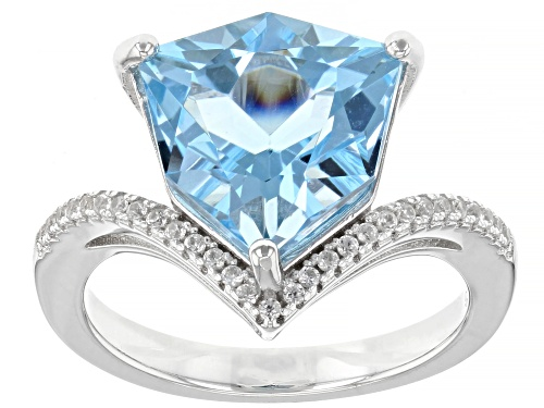 Photo of 4.55ctw GLACIER TOPAZ(TM) WITH .17CTW WHITE ZIRCON RHODIUM OVER STERLING SILVER RING - Size 10
