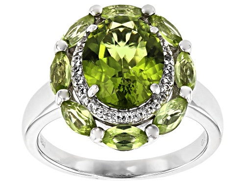 Photo of 2.29ct Oval and 1.00ctw Marquise Manchurian Peridot(TM), .17ctw Zircon Rhodium Over Silver Ring - Size 8