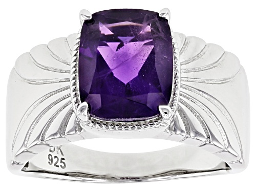 Photo of 2.47ct Rectangular African Amethyst Rhodium Over Sterling Silver Solitaire Ring - Size 8