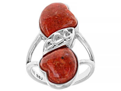 Photo of 12x10mm Heart-shaped cabochon red sponge coral rhodium over sterling silver ring - Size 7