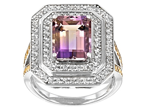 Photo of 2.79ct  Ametrine with 0.81ctw round Citrine and White Zircon Rhodium over Silver Ring - Size 8