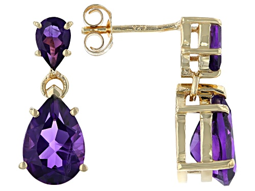 Photo of 3.88CTW PEAR SHAPE AMETHYST 18K YELLOW GOLD OVER SILVER DANGLE EARRINGS