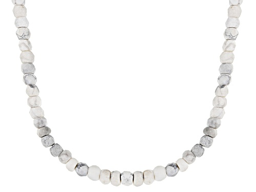 Photo of Graduated 3mm-5mm Rondelle Howlite Simulant Bead Strand, Sterling Silver Necklace - Size 18