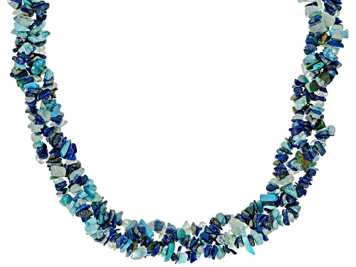 Photo of Free-Form Multi-Gemstone Rhodium Over Sterling Silver Multi-Row Necklace - Size 19