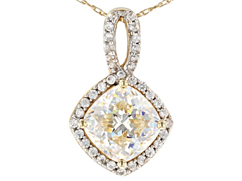 Photo of 1.95ct Fabulite Strontium Titanate And .25ctw White Zircon 10K Yellow Gold Pendant And Chain