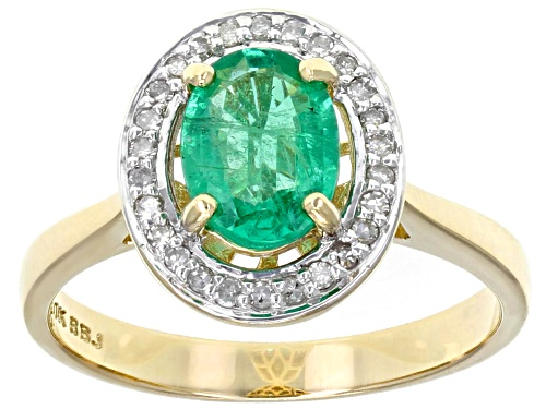 Photo of .93ct oval Ethiopian emerald with .12ctw round white diamond 10k yellow gold ring. - Size 12