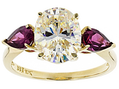 Photo of 3.31ct oval Fabulite strontium titanate with .86ctw pear shape grape color garnet 10k gold ring - Size 6