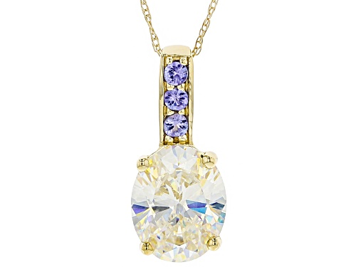 Photo of 3.31ct Fabulite Strontium Titanate with .10ctw tanzanite 10k yellow gold pendant with chain