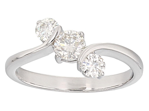 Photo of Moissanite Fire® .65ct Diamond Equivalent Weight Round Platineve™ 3 Stone Ring - Size 11