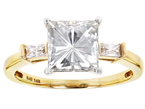 Photo of Moissanite Fire® 3.28ctw Dew Square Brilliant And Baguette 14k Yellow Gold Ring - Size 6