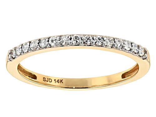 Photo of Moissanite Fire® .15ctw Diamond Equivalent Weight Round 14k Yellow Gold Ring - Size 11