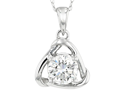 Photo of MOISSANITE FIRE® 1.00CT DIAMOND EQUIVALENT WEIGHT ROUND 14K WHITE GOLD PENDANT WITH CHAIN
