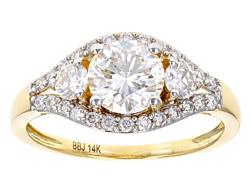 Photo of Moissanite Fire® 1.58ctw Diamond Equivalent Weight Round 14k Yellow Gold Ring - Size 11