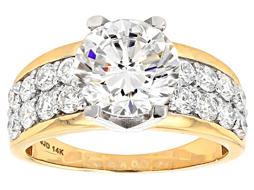 Photo of Moissanite Fire® 3.66ctw Diamond Equivalent Weight Round 14k Yellow Gold Ring With White Prongs - Size 11