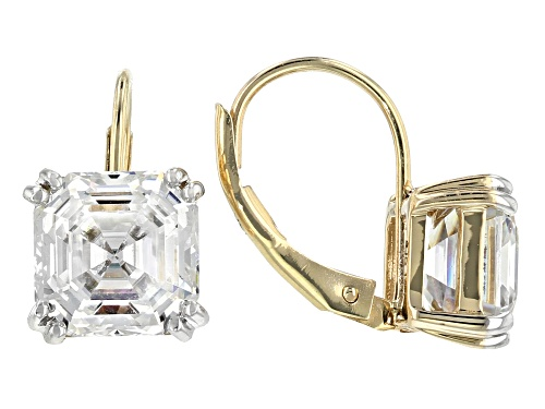 Photo of MOISSANITE FIRE® 5.92CTW DEW ASSCHER CUT 14K YELLOW GOLD EARRINGS