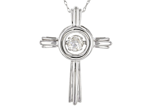 Photo of Moissanite Fire® .33ct Diamond Equivalent Weight Round 14k White Gold Dancing Pendant And Rope Chain