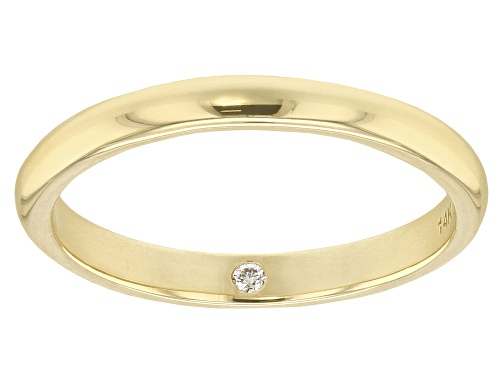 Photo of MOISSANITE FIRE(R) .02CT DEW ROUND 14K YELLOW GOLD BAND RING - Size 5