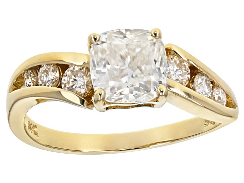 Photo of MOISSANITE FIRE® 1.68CTW DEW SQUARE CUSHION CUT AND ROUND 14K YELLOW GOLD RING - Size 8