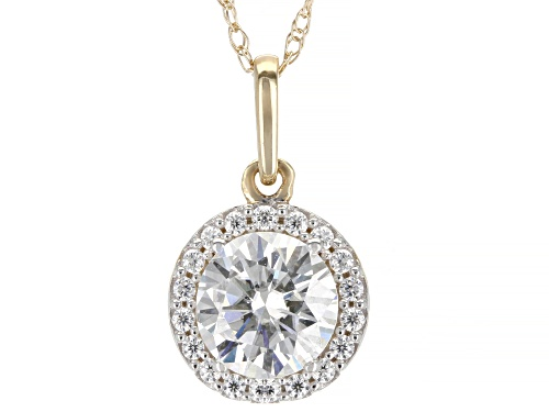 Photo of MOISSANITE FIRE(R) .98CTW DEW ROUND 14K YELLOW GOLD PENDANT WITH 18 INCH ROPE CHAIN