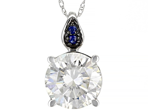 Photo of MOISSANITE FIRE(R) 2.70CT DEW AND .04CTW BLUE SAPPHIRE 14K WHITE GOLD PENDANT WITH ROPE CHAIN