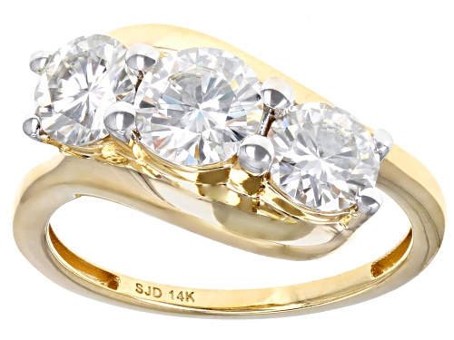 Photo of MOISSANITE FIRE(R) 2.00CTW DEW ROUND 14K YELLOW GOLD RING - Size 11