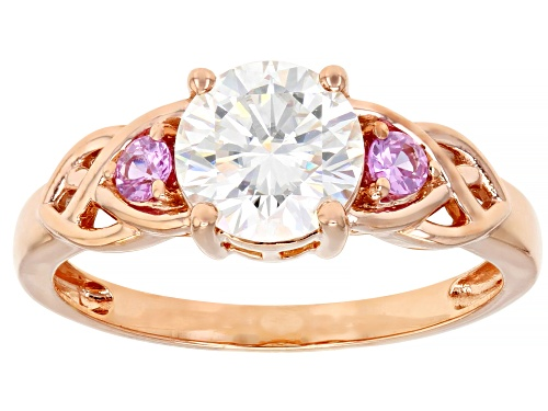Photo of MOISSANITE FIRE(R) 1.20CT DEW AND .15CTW PINK SAPPHIRE 14K ROSE GOLD RING - Size 6