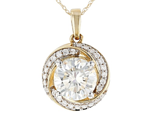 Photo of MOISSANITE FIRE(R) 2.97CTW DEW ROUND 14K YELLOW GOLD PENDANT AND ROPE CHAIN