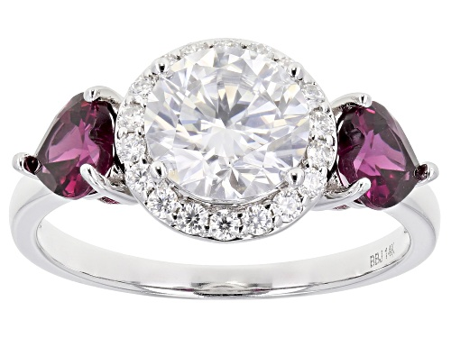 Photo of MOISSANITE FIRE(R) 1.70CTW DEW AND 1.06CTW GRAPE GARNET 14K WHITE GOLD RING - Size 8