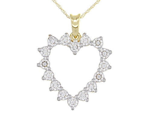 Photo of MOISSANITE FIRE(R) .96CTW DEW ROUND 14K YELLOW GOLD PENDANT AND ROPE CHAIN