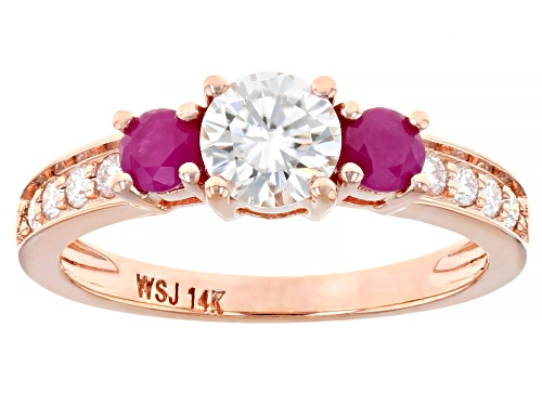 Photo of MOISSANITE FIRE(R) .84CTW DEW AND .48CTW BURMA RUBY 14K ROSE GOLD RING - Size 11