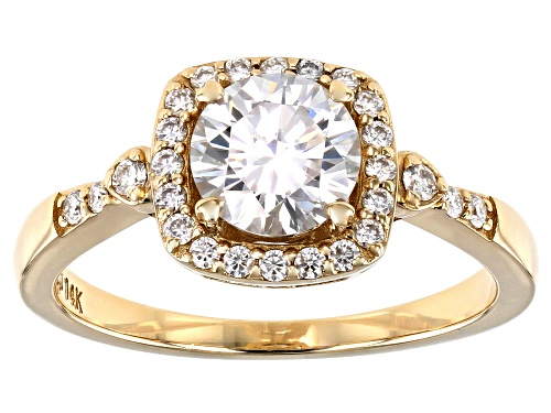 Photo of MOISSANITE FIRE(R) 1.28CTW DEW ROUND 14K YELLOW GOLD RING - Size 11