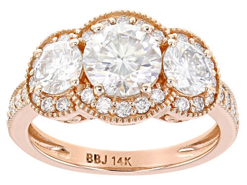 Photo of MOISSANITE FIRE(R) 2.84CTW DEW ROUND 14K ROSE GOLD RING - Size 8