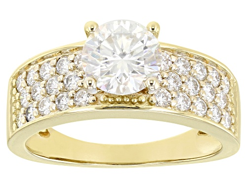 Photo of MOISSANITE FIRE(R) 2.10CTW DEW ROUND 10K YELLOW GOLD RING - Size 6