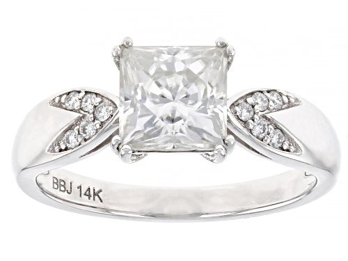 Photo of MOISSANITE FIRE(R) 1.80CTW DEW SQUARE BRILLIANT AND ROUND 14K WHITE GOLD RING - Size 10