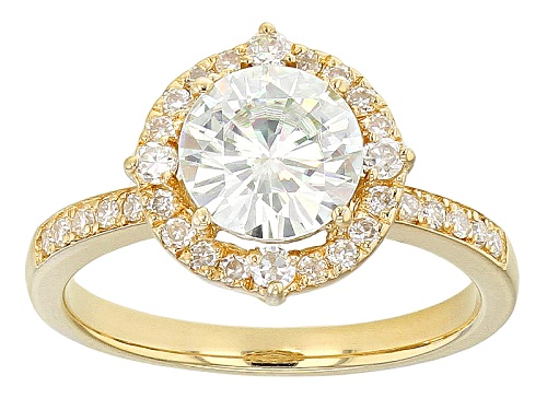 Photo of Moissanite Fire® 1.90ctw Diamond Equivalent Weight Round 14k Yellow Gold Over Sterling Silver Ring - Size 11