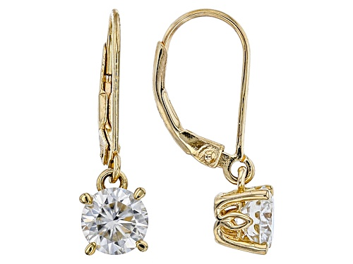 Photo of Moissanite Fire® 1.60ctw Dew Round 14k Yellow Gold Over Sterling Silver Dangle Earrings