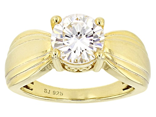 Photo of Moissanite Fire® 2.04ct Dew Round 14k Yellow Gold Over Sterling Silver Ring - Size 9