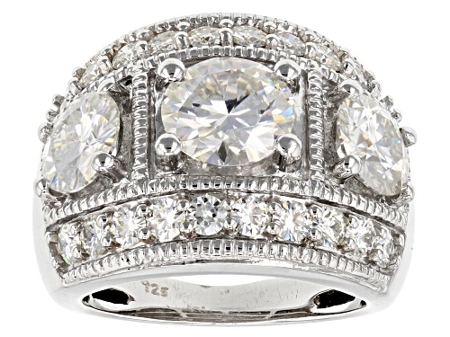 Photo of Moissanite Fire® 5.06ctw Diamond Equivalent Weight Round Brilliant Platineve™ Ring - Size 11