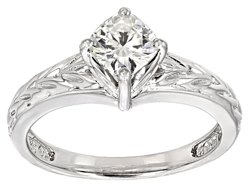 Photo of Moissanite Fire® .80ct Dew Cushion Cut Platineve™ Ring - Size 11