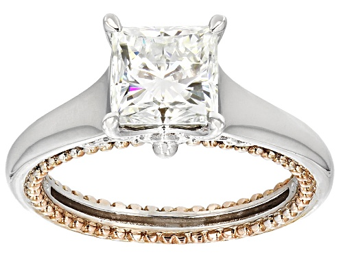 Photo of Moissanite Fire® 2.30ct Dew Platineve™ And 14k Rose Gold Accent Plated Ring - Size 10
