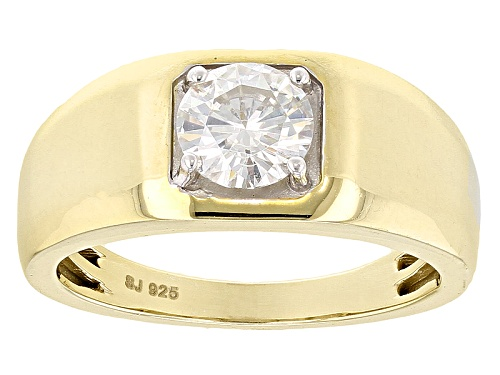 Photo of Moissanite Fire® 1.20ct Dew Round 14k Yellow Gold Over Sterling Silver Mens Ring - Size 10